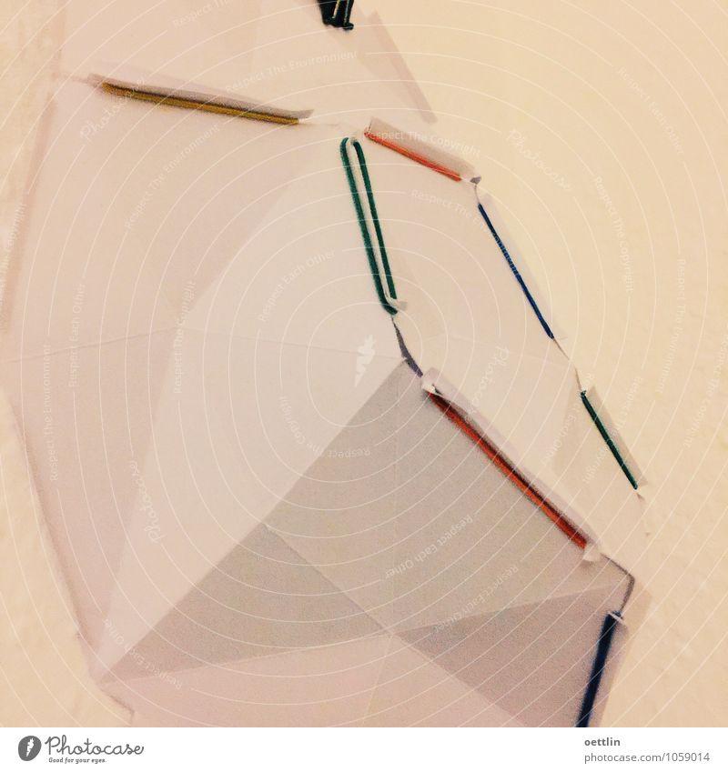 Geometrie mit Gummi Design Kunst Skulptur eckig einfach elegant Spitze blau mehrfarbig gelb grün rot weiß Reinheit Papier Basteln Farbfoto Innenaufnahme