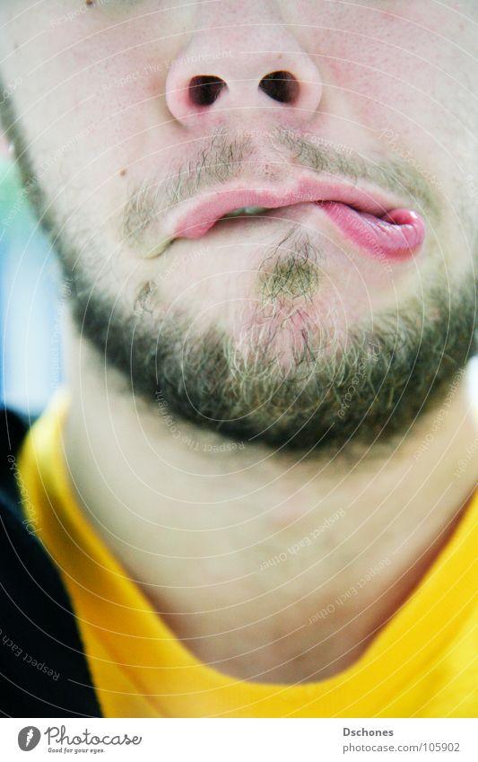 Grmpf. Jugendliche Gesicht Mund Kommunizieren Lippen nah Scham Grimasse trotzig verlegen