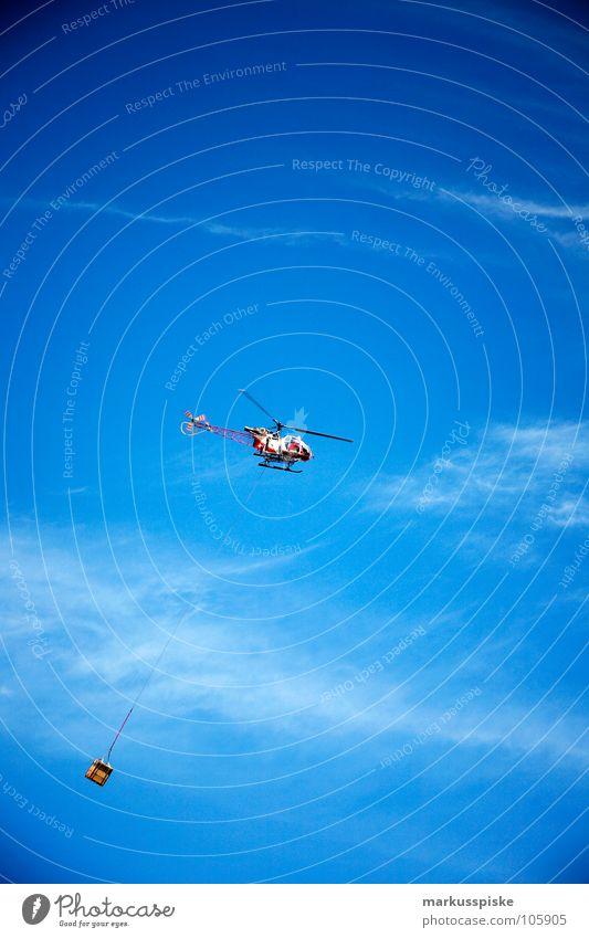 lastenhubschrauber Himmel Luft Luftverkehr gefährlich Güterverkehr & Logistik Niveau bedrohlich Alpen Gewicht Rettung Unfall Pilot luftig Hubschrauber Träger