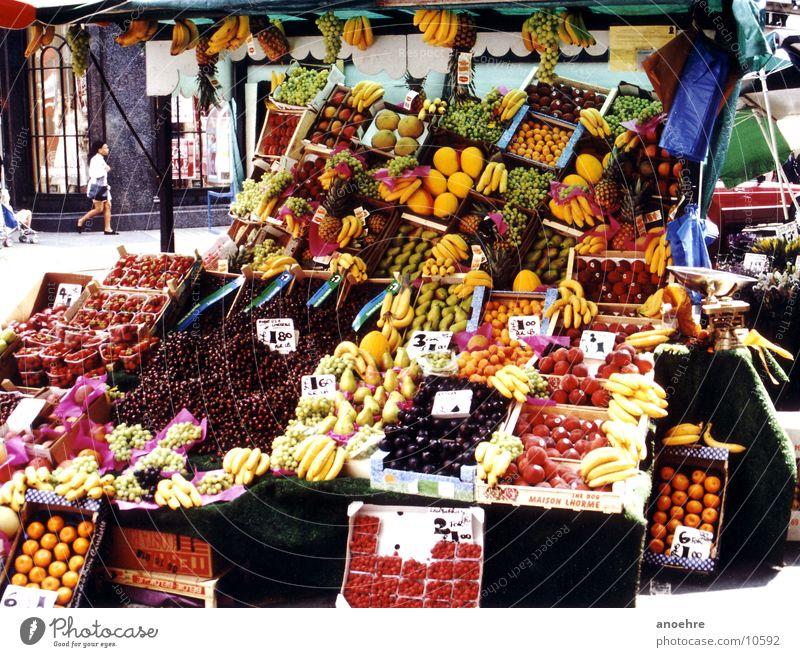 Londoner Obsthändler Gesundheit Frucht Gemüse Marktplatz Lebensmittel England Marktstand