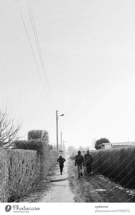 Winterspaziergang Mensch Jugendliche Erholung Einsamkeit ruhig 18-30 Jahre Winter Ferne Erwachsene Leben Bewegung Wege & Pfade Gesundheit Freiheit Garten Menschengruppe