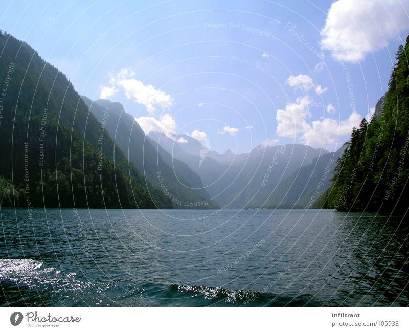 am Königssee See Bayern Wolken Sommer Romantik ruhig Einsamkeit Berge u. Gebirge Landschaft Wasser Alpen Himmel Natur