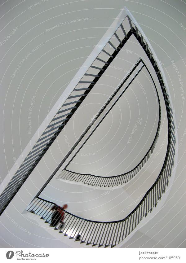 Treppe nehmen Mensch weiß Ferne schwarz Wege & Pfade Zeit Linie oben Raum modern Ecke Sicherheit Niveau Geländer Burg oder Schloss