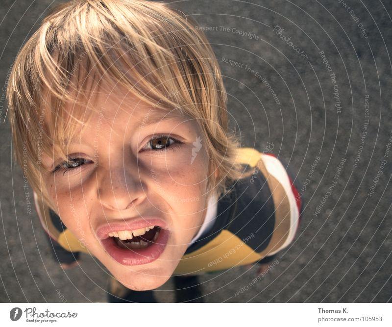 What ? Kind Junge Spielen Sommer Fragen Porträt Gesichtsausdruck Schüler Blick oben Perspektive Schulkind Wind Zähne