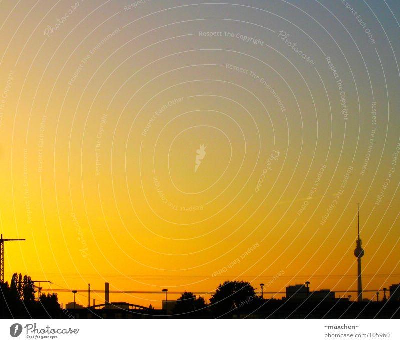 Himmel über Berlin Sonnenuntergang Kran gelb S-Bahn Haus Stadt Baum Lampe Wolken Sommer sky Skyline Berliner Fernsehturm Hauptstadt orange Silhouette Leitung