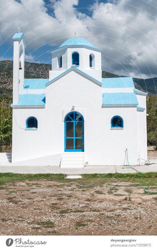 Typische weiß-blaue griechische Kirche. schön Ferien & Urlaub & Reisen Tourismus Meer Insel Himmel Dorf Gebäude Architektur Religion & Glaube Tradition