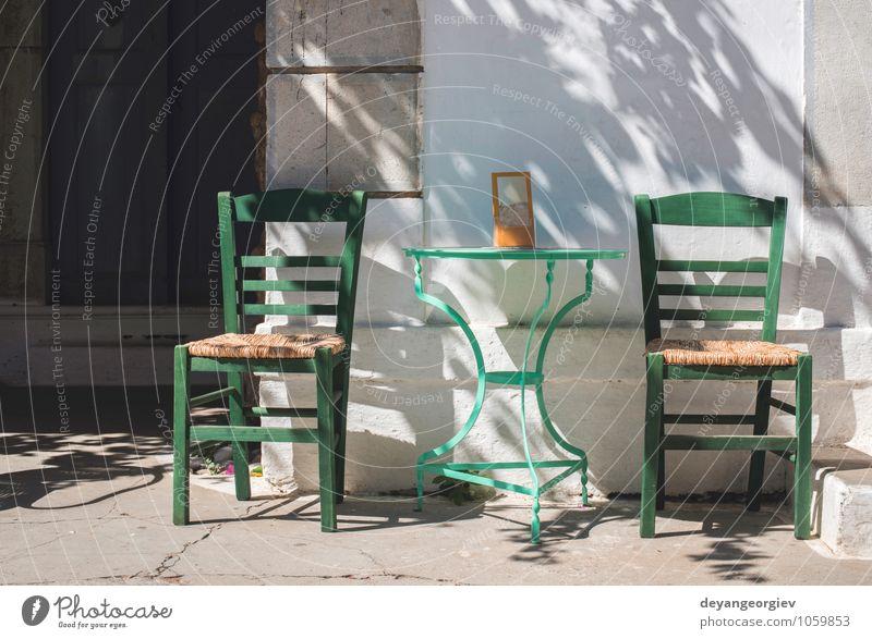 Typisches griechisches Restaurant. Ferien & Urlaub & Reisen alt blau Sommer weiß Meer Blume Haus Strand Straße Architektur Gebäude Tourismus Tisch Insel Europa