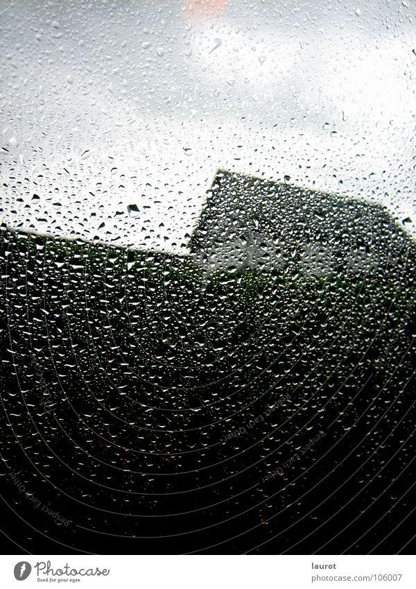 Tropfenlandschaft Haus Gras Fenster Fensterscheibe grau nass dunkel unheimlich verdeckt Nachmittag Bergisch Gladbach Wolken Blick nach oben Wasser Himmel Regen