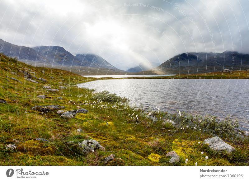 Licht Ausflug Abenteuer Ferne Freiheit Berge u. Gebirge Wolken Gewitterwolken Sonne Klima Wetter schlechtes Wetter Regen Gras Moos Wildpflanze Felsen See Wasser