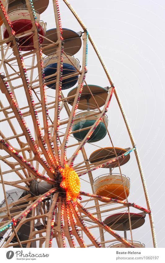 Hoch oben in der Luft Lifestyle Freizeit & Hobby Ferien & Urlaub & Reisen Abenteuer Jahrmarkt Veranstaltung Wolken Skyline Dekoration & Verzierung Ornament