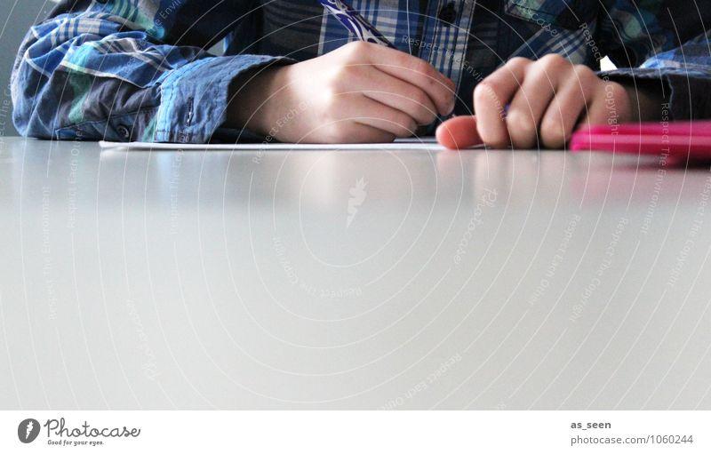 Hausaufgaben blau Hand ruhig Leben rosa Schule Büro modern Erfolg Finger Studium lernen Papier Bildung schreiben Konzentration