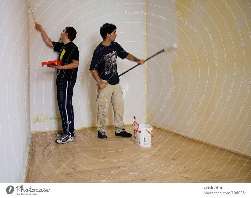Renovieren Mensch weiß Farbe Wand Wohnung Häusliches Leben Dienstleistungsgewerbe Umzug (Wohnungswechsel) Leiter Renovieren Anstreicher Haushalt Weisheit Trittleiter