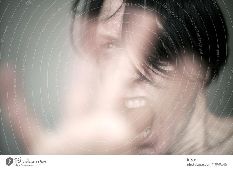 MISSVERSTÄNDNIS !?!?? Lifestyle Freizeit & Hobby sprechen Frau Erwachsene Leben Gesicht Hand 1 Mensch 30-45 Jahre Kommunizieren machen schreien