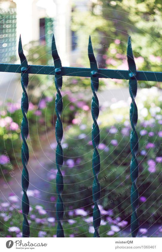 Nachbars Garten. Natur Umwelt Garten Park Zufriedenheit ästhetisch Zaun Gitter Nachbar Grünpflanze Gartenfest Gartenzaun umfrieden eingezäunt Zaunlücke