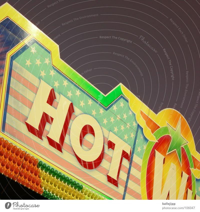 cool Freude Lampe Schilder & Markierungen Stern (Symbol) Schriftzeichen USA heiß Werbung Typographie Jahrmarkt Amerika