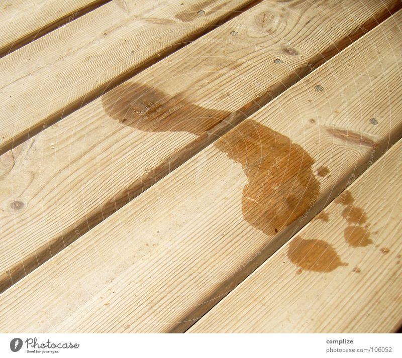 Barfuß auf dem Sauna-Steg Ferien & Urlaub & Reisen Wasser Sommer Erholung Holz Tierfuß groß nass Textfreiraum Bodenbelag Zeichen Spuren Holzbrett Fußspur