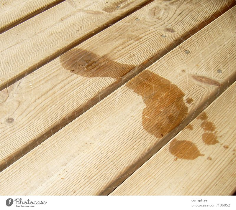 Barfuß auf dem Sauna-Steg Sommer Wasser Holz Zeichen Fußspur groß nass Holzfußboden feucht Finnland Skandinavien Fußsohle Spuren Maserung Holzbrett Bodenbelag