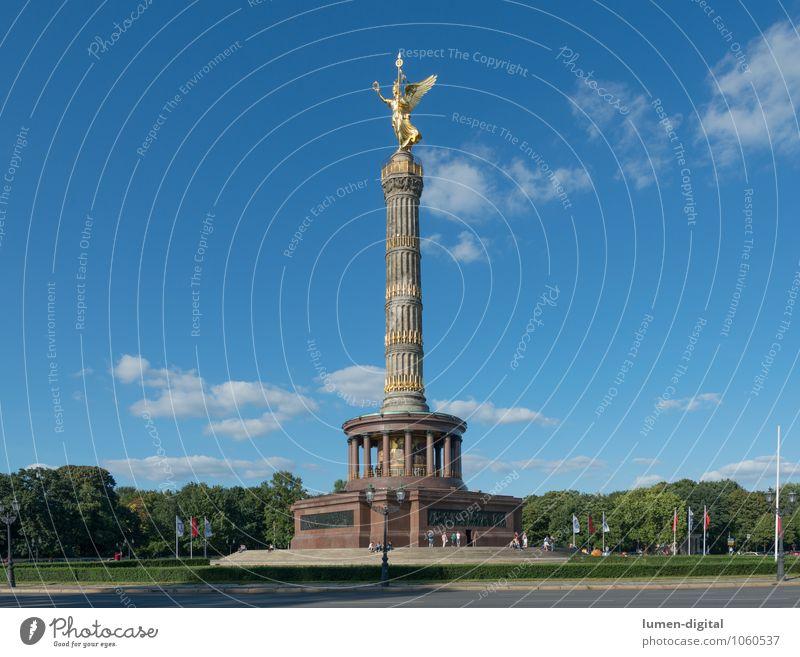 Siegessäule Sommer Wolken Park Berlin Deutschland Europa Hauptstadt Sehenswürdigkeit Denkmal Wegkreuzung Erfolg Goldelse großer stern sonnig Säule Tiergarten