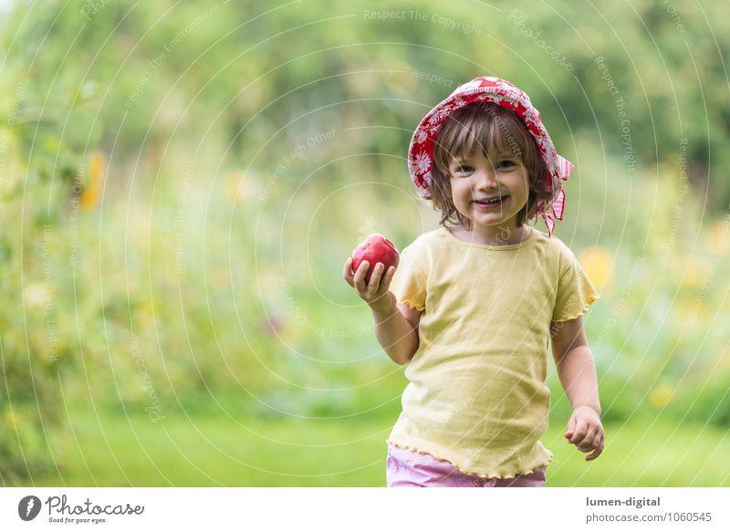 Mädchen mit Apfel Frucht Ernährung Freude Gesicht Sommer Kind Mensch Kleinkind 1 1-3 Jahre Hut lachen Fröhlichkeit frisch klein Kindheit Apfelbaum beißen essen