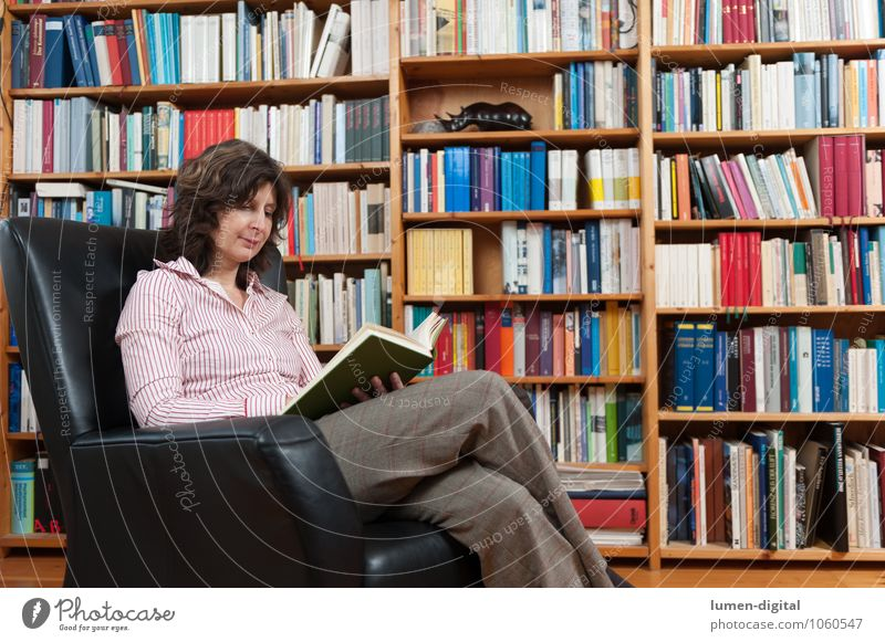 Lesende Frau im Sessel sitzend Mensch Frau Erholung Erwachsene Häusliches Leben sitzen Buch lesen Bildung Printmedien Sessel Bibliothek Regal 30-45 Jahre Bücherregal Bilderbuch