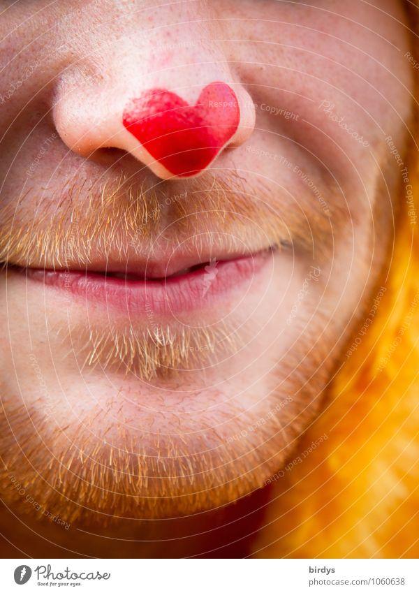 Herz Bube Schminke Junger Mann Jugendliche Gesicht Nase Mund Bart 1 Mensch 18-30 Jahre Erwachsene rothaarig Lächeln Freundlichkeit Fröhlichkeit frisch lustig