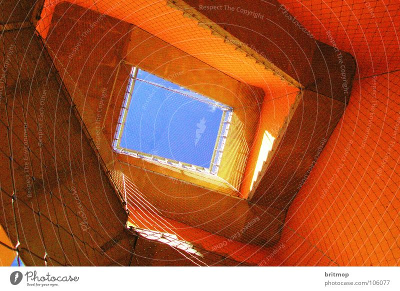 himmel Gitter Nebra Himmel Wahrzeichen Denkmal Detailaufnahme orange Treppe Turm blau mittelberg sky stairs lattice blue