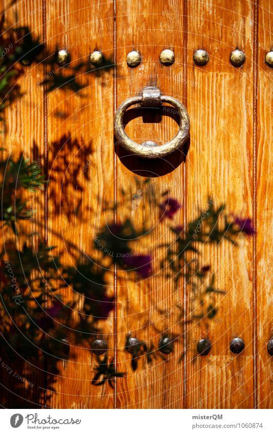 Schattenknauf. Kunst ästhetisch Tür Türschloss Türknauf Türöffner Holztür Farbfoto Gedeckte Farben Außenaufnahme Nahaufnahme Experiment Muster