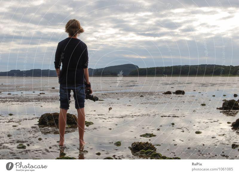 Wattwanderung Erholung ruhig Ferien & Urlaub & Reisen Sommer Sommerurlaub Strand Meer wandern maskulin Umwelt Natur Landschaft Sand Wasser Himmel Wolken