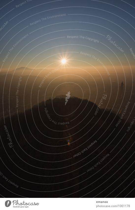 Freiburger Sonnenuntergang Himmel Natur Ferien & Urlaub & Reisen Stadt Landschaft Haus Wolken Ferne Wald Berge u. Gebirge dunkel Tourismus wandern Wetter Nebel