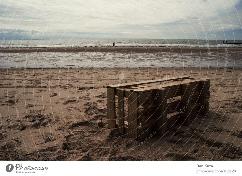 Strandgut Wasser Meer Wolken dunkel Herbst Holz Traurigkeit See Linie Stimmung dreckig Trauer Spaziergang liegen Vergänglichkeit