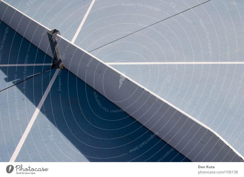 Kreuzweise grau Linie Streifen Schraube flach vertikal Ecke diagonal graphisch erleuchten Tischtennis Tischtennisplatte rund Freizeit & Hobby blau Metall