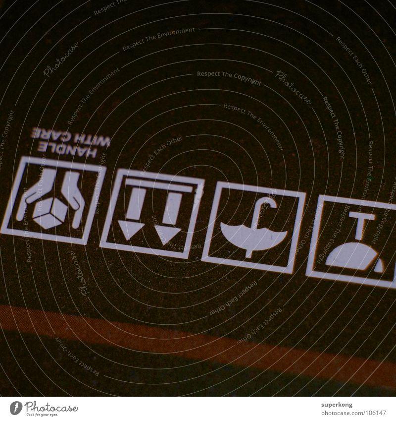 Signs Symbole & Metaphern Schachtel Regenschirm Richtung Sinn Logo Piktogramm Hand abstrakt Quadrat labil obskur Karton Wegweiser Hinweisschild Aussage