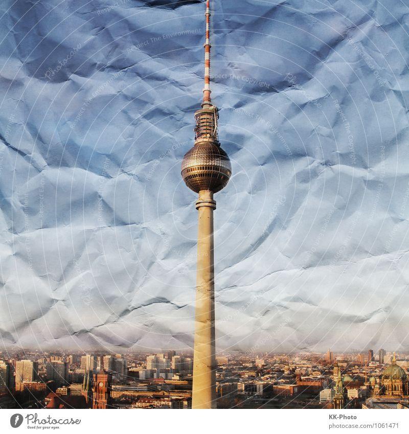 Crumbled Paper Berlin Stadt blau weiß Haus Architektur Deutschland glänzend hoch groß Europa Papier Turm Bauwerk Skyline Hauptstadt