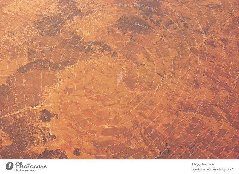 Fly Away 7 Vogelperspektive fliegen Luftverkehr Flugzeug Aussicht Blick schauen Fluss Berge u. Gebirge Ferien & Urlaub & Reisen Wolken Feld Wüste Sand Wald