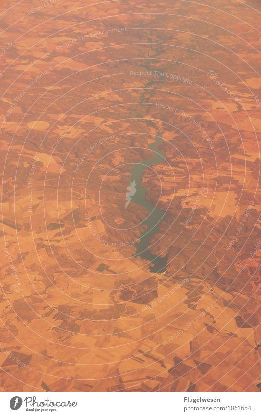 Fly Away 5 Vogelperspektive fliegen Luftverkehr Flugzeug Aussicht Blick Fluss Berge u. Gebirge Ferien & Urlaub & Reisen Wolken Feld Wüste Sand Wald