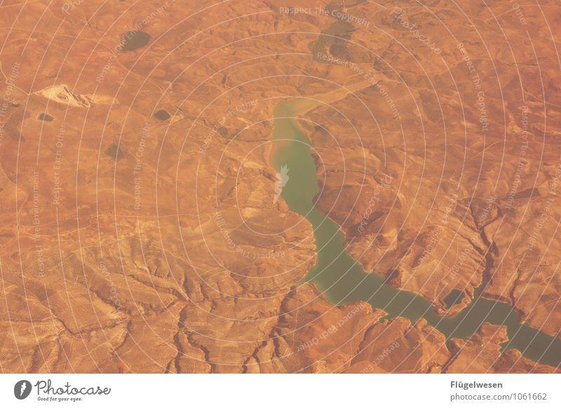 Fly Away 10 Vogelperspektive fliegen Luftverkehr Flugzeug Aussicht Blick Fluss Berge u. Gebirge Ferien & Urlaub & Reisen Wolken Feld Wüste Sand Wald