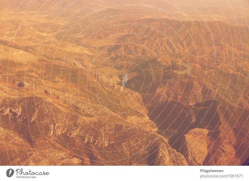 Fly Away 8 Vogelperspektive fliegen Luftverkehr Flugzeug Aussicht Blick Fluss Berge u. Gebirge Ferien & Urlaub & Reisen Wolken Feld Wüste Sand Wald