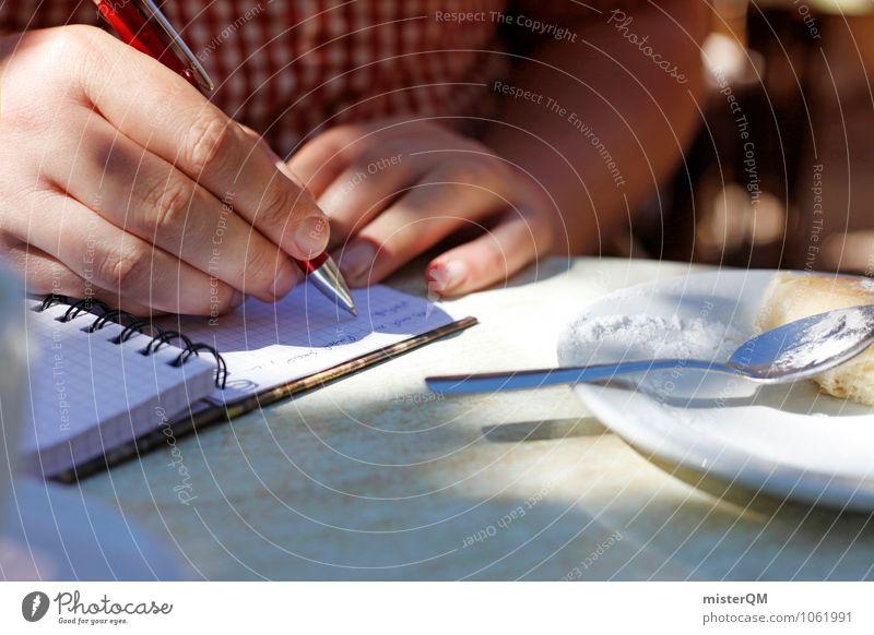 Spanish Food X Kunst ästhetisch Tagebuch schreiben schreibend Hand Schreibstift Reisefotografie Farbfoto Gedeckte Farben Außenaufnahme Nahaufnahme