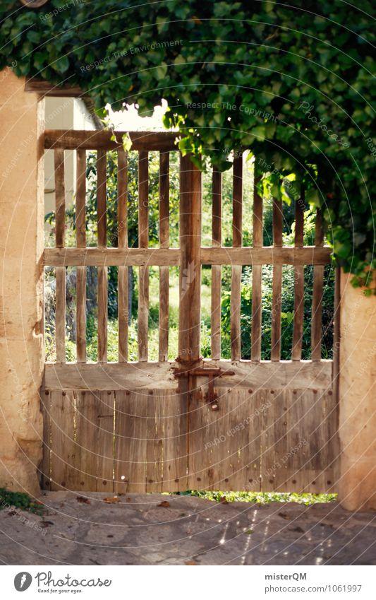Hoftor. Dorf Kleinstadt ästhetisch Tor Torbogen Holztor geschlossen Valldemossa Spanien Grundstück Grundstücksgrenze alt verfallen rustikal Farbfoto