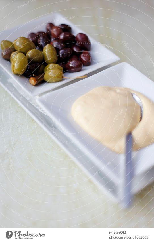 Spanish Food VIII Lebensmittel ästhetisch Zufriedenheit Knoblauch Oliven Snack Snackbar mediterran lecker Teile u. Stücke Löffel Teller Spanisch Farbfoto