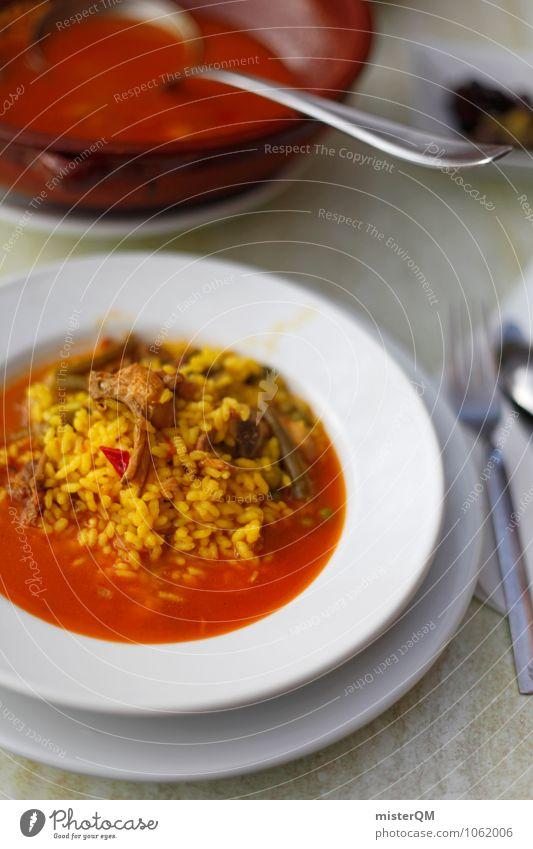 Spanish Food VII Kunst Zufriedenheit ästhetisch lecker Teller Mittagessen Reis Suppe Tellerrand Suppenteller Tomatensuppe