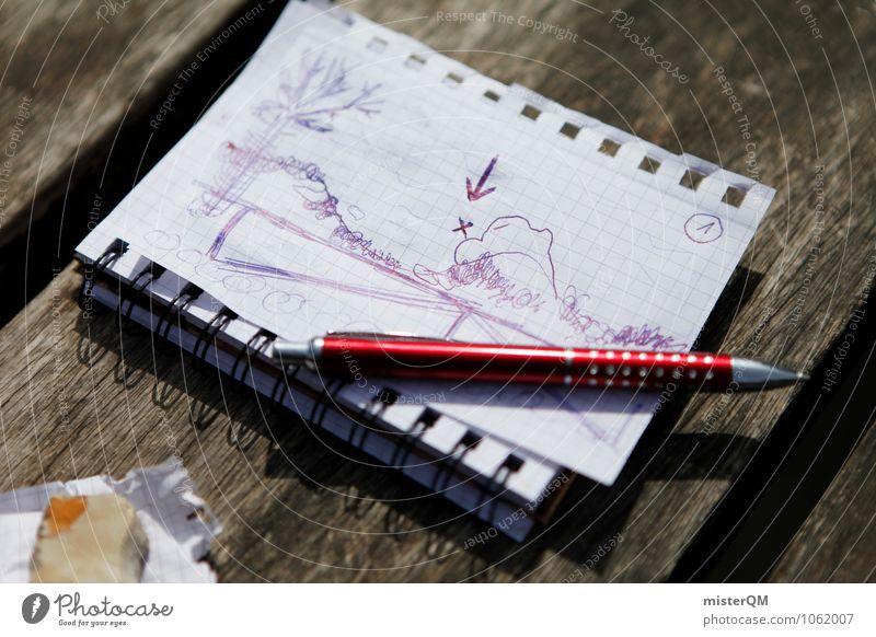 el tesoro. Kunst ästhetisch Abenteuer gemalt Schreibstift Zeichnung Landkarte Zettel Entwurf Versteck Notizbuch Schatz Tagebuch Schatztruhe Lagerplatz