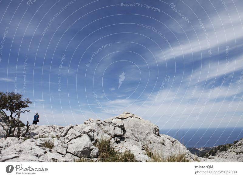 Blau zu Blau. Umwelt Natur Landschaft Abenteuer ästhetisch Spanien Mallorca himmelblau Himmel (Jenseits) Berge u. Gebirge Bergkette hoch aufsteigen Gipfel