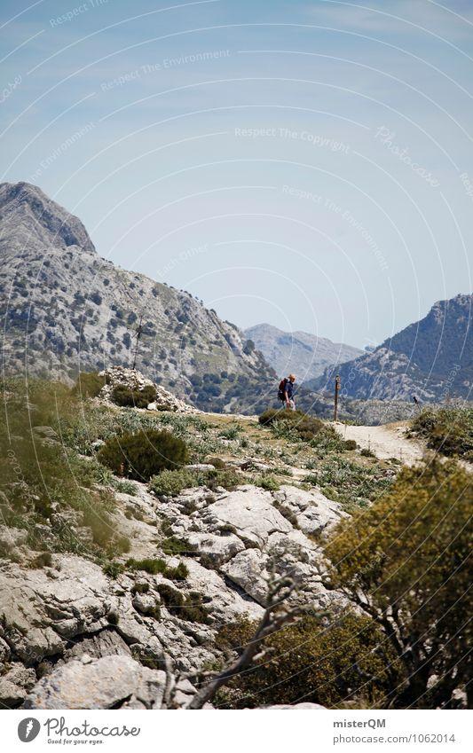 pathway. Mann Einsamkeit Ferne Berge u. Gebirge Wege & Pfade Zufriedenheit wandern ästhetisch Abenteuer Gipfel Spanien Mallorca Kunstwerk Bergkette Rucksacktourismus Serra de Tramuntana