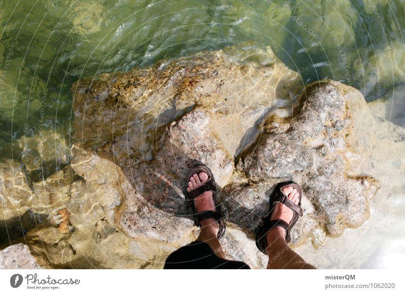 Bergfluss. Umwelt Natur Landschaft Abenteuer ästhetisch Fuß Sandale steinig Wasser Flussufer stehen Überqueren Barriere Farbfoto Gedeckte Farben Außenaufnahme