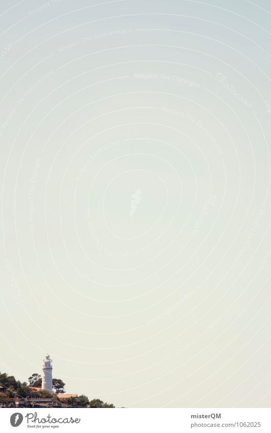 Eckleuchte. Kunst ästhetisch Leuchtturm Leuchtturmwärter Himmel (Jenseits) himmelblau Urlaubsfoto Mallorca Farbfoto Gedeckte Farben Außenaufnahme Experiment
