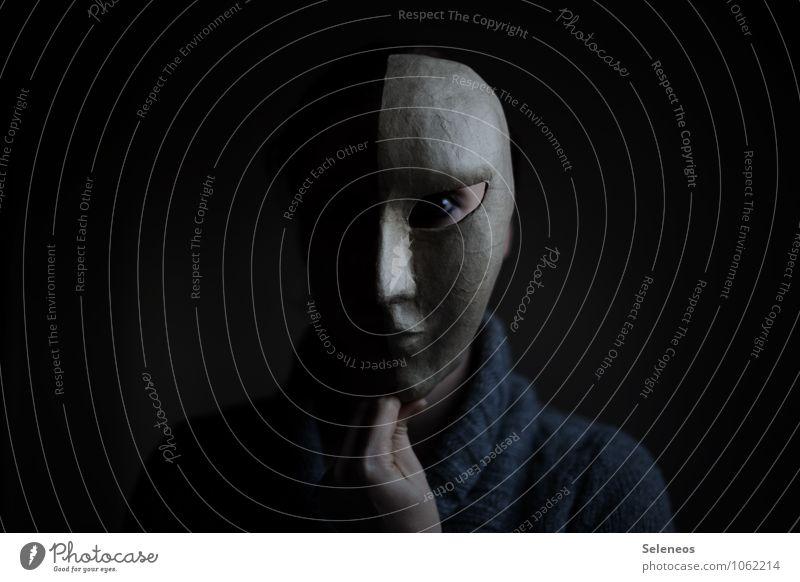 Dark side Mensch feminin Gesicht Auge Nase Mund 1 Maske dunkel gruselig Gefühle Stimmung Traurigkeit Trauer Einsamkeit Erschöpfung Nervosität verstört