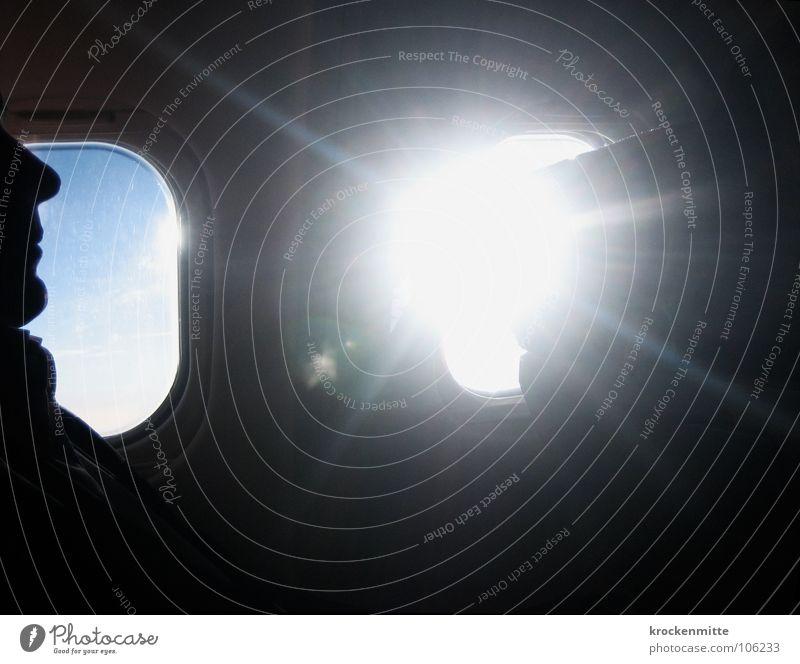 Don't know when I'll be back again Fenster Flugzeug Aussicht Horizont Ferien & Urlaub & Reisen Gegenlicht Silhouette Mann über den Wolken Luftverkehr Himmel