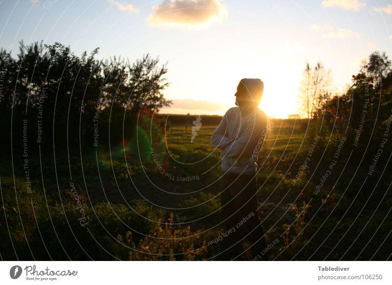 Gartencenter Eden Mann Sonnenuntergang ländlich Himmel Amerika Silhouette Paradies genießen