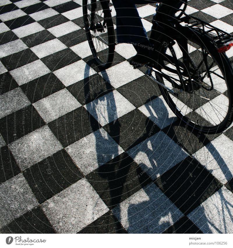 Digital Life Mensch weiß Sommer schwarz Straße Spielen Stein Fahrrad Freizeit & Hobby Ordnung Platz Perspektive Boden Bodenbelag fahren Punkt